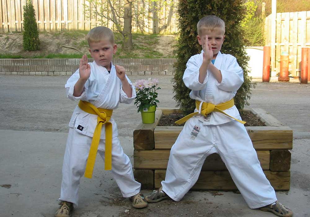 kids taking karate lessons at aurora family martial arts school