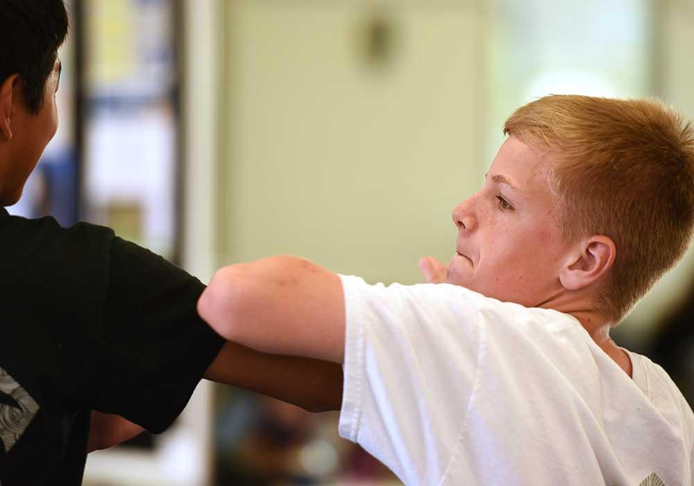 kids karate lesson at aurora family martial arts school